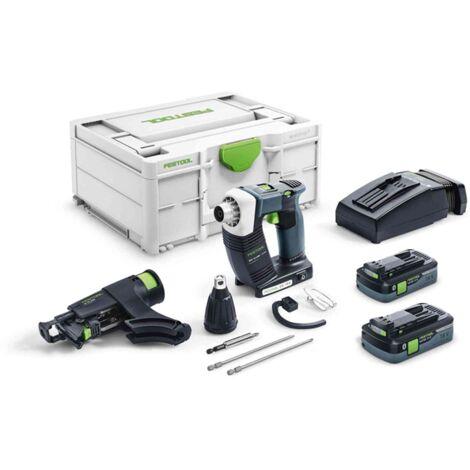Visseuse placo FESTOOL DWC 18-4500 HPC 4.0 I-Plus - 2 Batteries 4.0 Ah, chargeur + accessoires - 576502