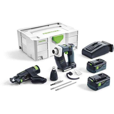 Visseuses sans fil pour plaquistes FESTOOL DWC 18-4500 - 2 Batteries 5.2Ah 18V, chargeur - 574745