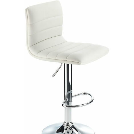 Vista Breakfast Bar Stool White Padded Seat Height Adjustable
