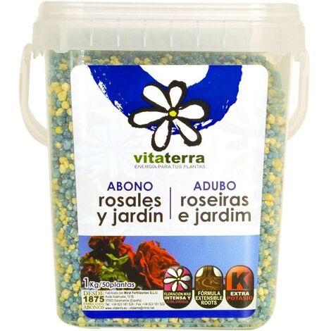VITATERRA Abono Granulado para Rosales y Jardín, Cubo 1 kg