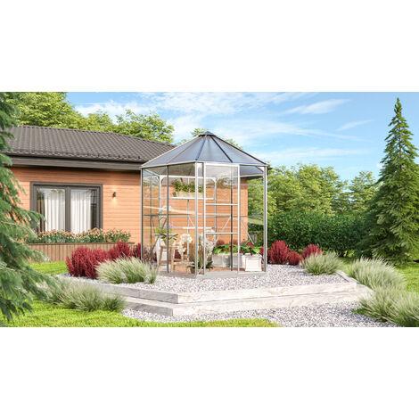 """Vitavia Aktionsangebot (inkl. 100 Euro Zubehör): Gewächshaus-Pavillon """"Juno 4500"""" aluminium eloxiert 3 mm ESG, 6 mm HKP"""