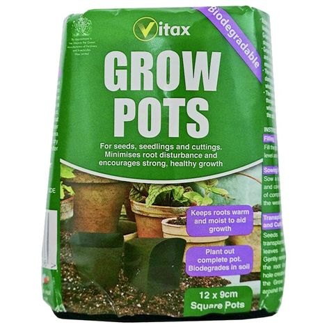 Vitax Square Grow Pots (Pack of 12) (One Size) (Green)