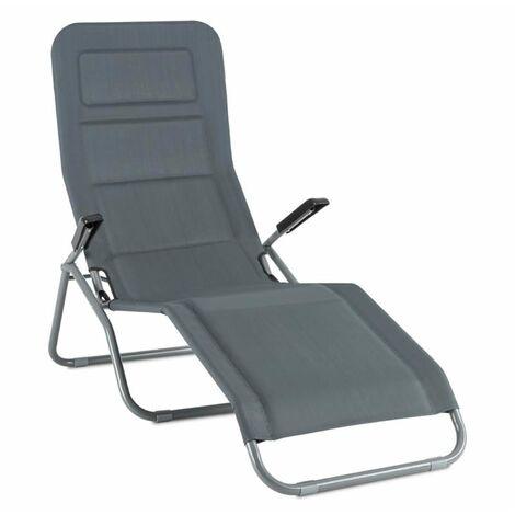 Vitello Noble Transat chaise longue bain de soleil140 x72 x104 - gri