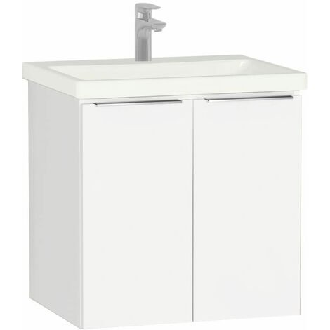 Vitra Ecora 2-Door Wall Hung Vanity Unit with Basin 600mm Wide White - 1 Tap Hole