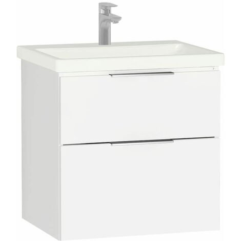 """main image of """"Vitra Ecora 2-Drawers Wall Mounted Vanity Unit with Basin - 600mm Wide - White"""""""