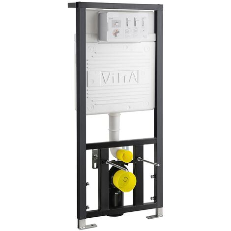 Vitra Front Operated Dual Concealed Wall Hung Toilet Frame 1270mm H x 490mm W - Dark Grey