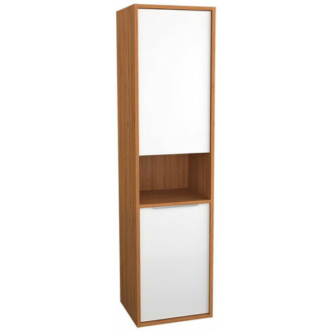 Vitra Integra LH 2-Door Tall Unit with Laundry Basket 400mm Wide - High Gloss White/Bamboo