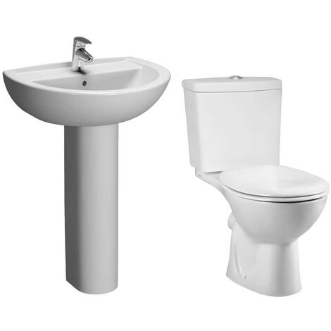 VitrA Layton Bathroom Suite Close Coupled Toilet 1 Tap Hole Basin