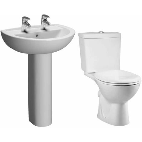VitrA Layton Bathroom Suite Close Coupled Toilet 2 Tap Hole Basin