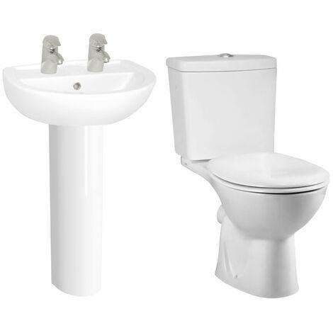 VitrA Layton Bathroom Suite Corner Close Coupled Toilet 2 Tap Hole Basin