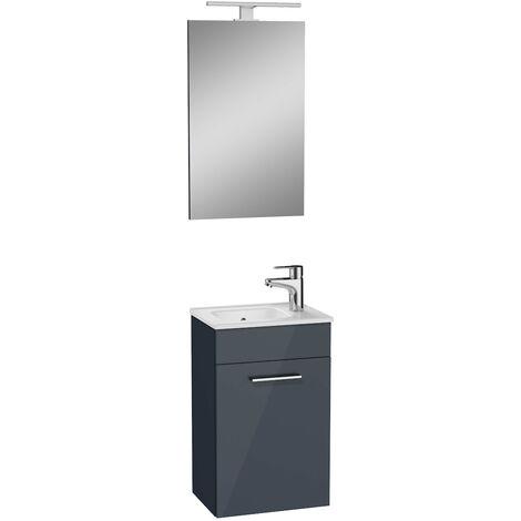 Vitra Mia Meuble 39x61x28 cm pour salle de bain avec miroir, lavabo et éclairage LED, Anthracite brillant (MIASET40A)