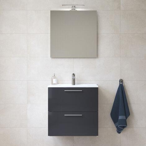 Vitra Mia Meuble 59x61x39,5 cm pour salle de bain avec miroir, lavabo et éclairage LED, Anthracite brillant (MIASET60A)