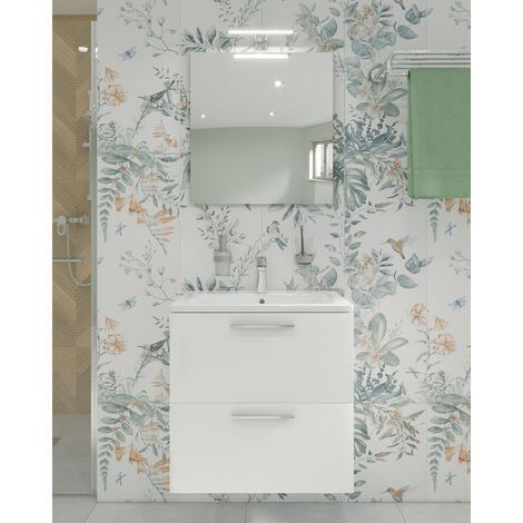 Vitra Mia Meuble 59x61x39,5 cm pour salle de bain avec miroir, lavabo et éclairage LED, Blanc brillant (MIASET60B)