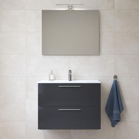 Vitra Mia Meuble 79x61x39,5 cm pour salle de bain avec miroir, lavabo et éclairage LED, Anthracite brillant (MIASET80A)