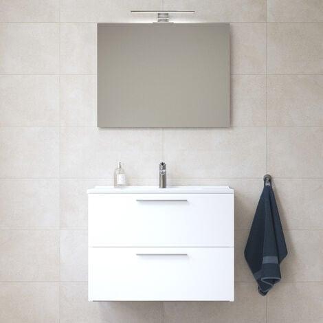 Vitra Mia Meuble 79x61x39,5 cm pour salle de bain avec miroir, lavabo et éclairage LED, Blanc brillant (MIASET80B)