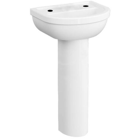 VitrA Milton Cloakroom Basin and Full Pedestal 450mm Wide - 2 Tap Hole