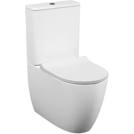 Vitra Pack WC à poser haut de gamme sans bride Vitra Sento sortie universelle, raccord d'eau caché, 65 cm, Blanc (VitraSentoRimless)