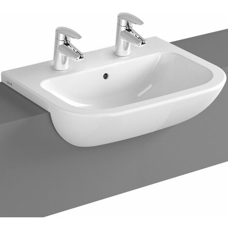 Vitra S20 Semi Recessed Basin 550mm Wide 2 Tap Hole