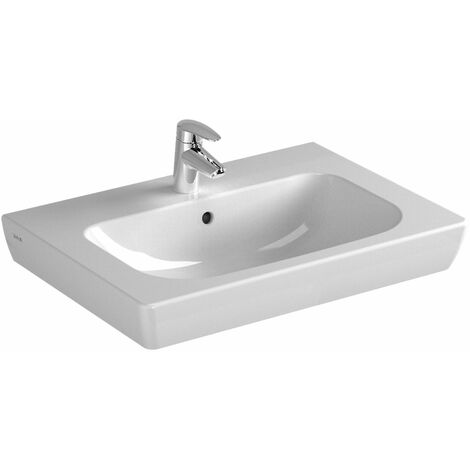Vitra S20 Vanity Basin 650mm Wide 1 Tap Hole