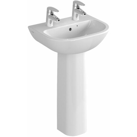 Vitra S20 Wash Basin and Full Pedestal 550mm Wide 2 Tap Hole
