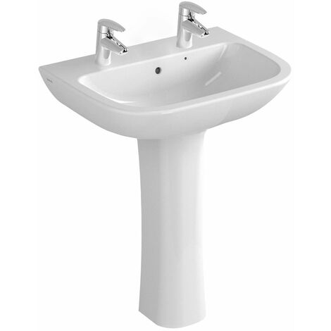 Vitra S20 Wash Basin and Full Pedestal 600mm Wide 2 Tap Hole