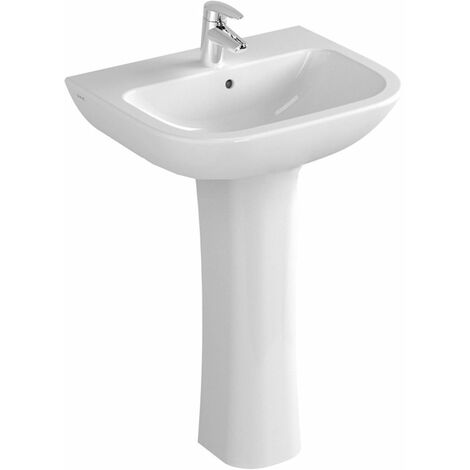 Vitra S20 Wash Basin and Full Pedestal 650mm Wide 1 Tap Hole