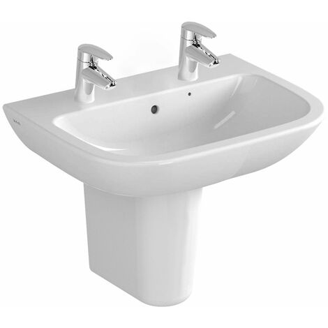 Vitra S20 Wash Basin and Large Semi Pedestal 650mm Wide 2 Tap Hole