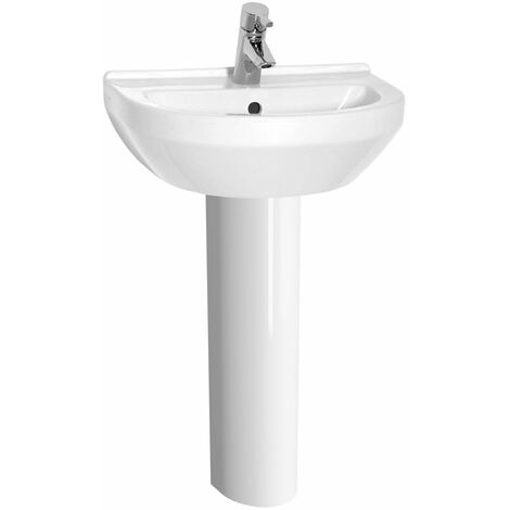 Vitra S50 Round Basin and Full Pedestal 500mm Wide 1 Tap Hole