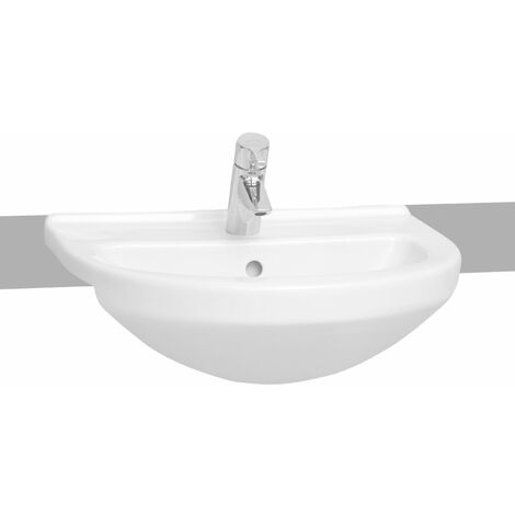 Vitra S50 Semi-Recessed Basin 550mm Wide 1 Tap Hole