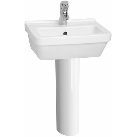 Vitra S50 Square Basin and Full Pedestal 450mm Wide 1 Tap Hole