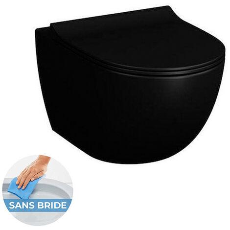 Vitra SENTO Noir mat Cuvette RIM-EX (sans bride) et abattant ultra-fin avec frein de chute (7748B083-0075 + 120-083R009)