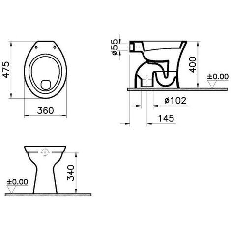 Vitra Standflachspül WC innen senkrecht Stand Flachspüler weiß Hygiene Glasur 6860L003-1030