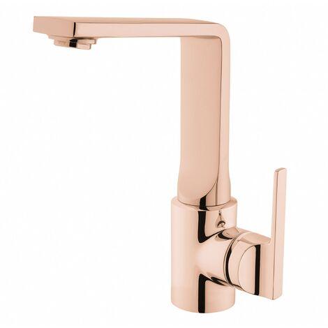 Vitra Suit L-Spout Basin Mixer Tap with Swivel Spout - Copper
