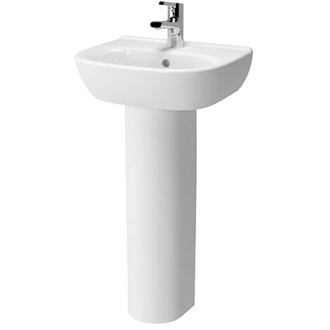 Vitra Zentrum Wash Basin and Full Pedestal 450mm Wide 1 Tap Hole