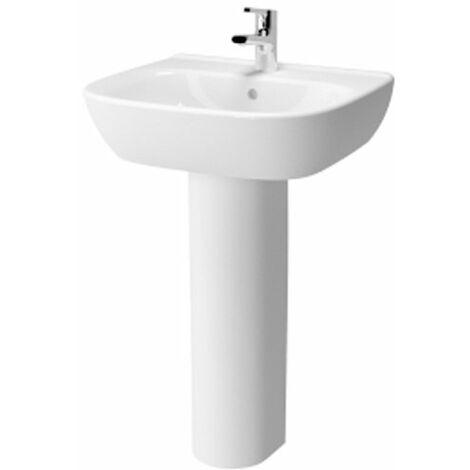 Vitra Zentrum Wash Basin and Full Pedestal 600mm Wide 1 Tap Hole