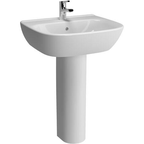 Vitra Zentrum Wash Basin and Full Pedestal 650mm Wide 1 Tap Hole
