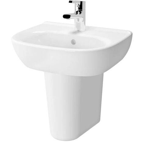 Vitra Zentrum Wash Basin and Large Semi Pedestal 550mm Wide 1 Tap Hole