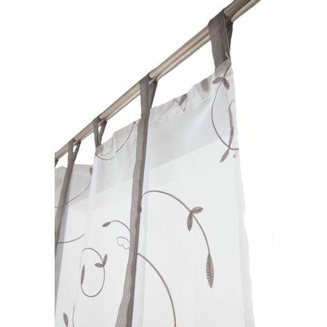 Vitrage 70 x 240 cm à Pattes Store Enrouleur avec Broderies Blanc / Gris Clair Blanc - Blanc