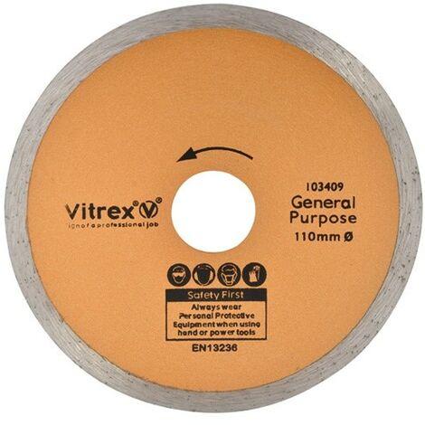 "main image of ""Vitrex 103402NDE Diamond Wet Tile Saw Blade 110mm 103409 22mm Bore VIT103409"""