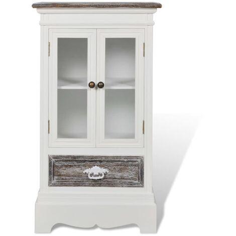 Vitrina baja con dos puertas y un cajón de madera blanca