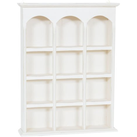 Vitrina colgante de estilo Country de madera maciza de tilo acabado con efecto blanco envejecido 54x12x72 cm