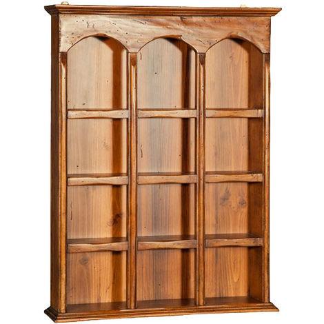 Vitrina colgante de estilo Country de madera maciza de tilo acabado con efecto nogal 54x12x72 cm