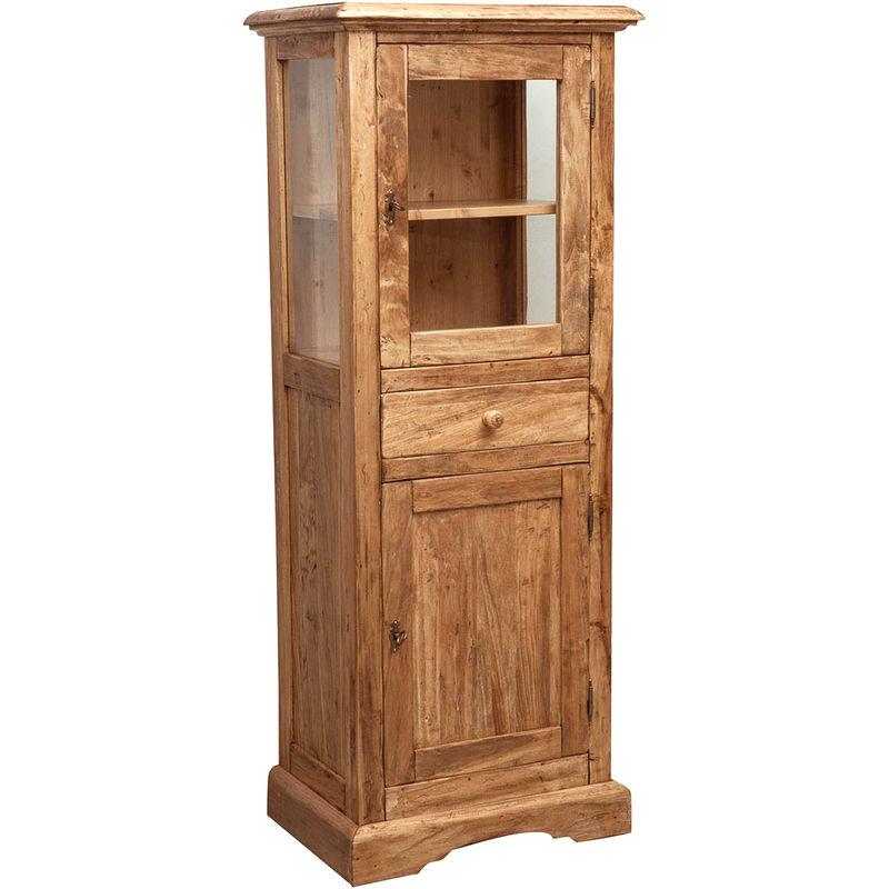 Biscottini - Vitrina Country de madera maciza de tilo acabado con efecto natural 55x43x150 cm