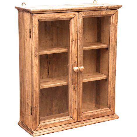 Vitrina de estilo Country de colgar de madera maciza de tilo acabado con efecto natural