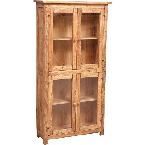 Vitrina de estilo Country de madera maciza de tilo acabado con efecto natural 68x25x130 cm
