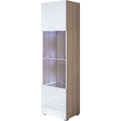 "main image of ""Vitrina modelo Luke V6 (40x167cm) color sonoma y blanco con patas estándar"""