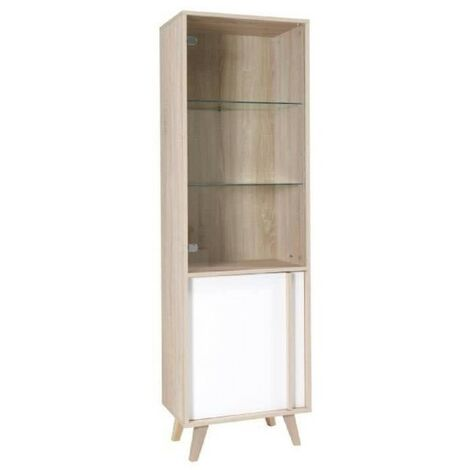 Vitrine, bibliothèque, vaisselier MALMO petit modèle + LED. Meuble type SCANDINAVE idéal pour votre salle à manger - Blanc