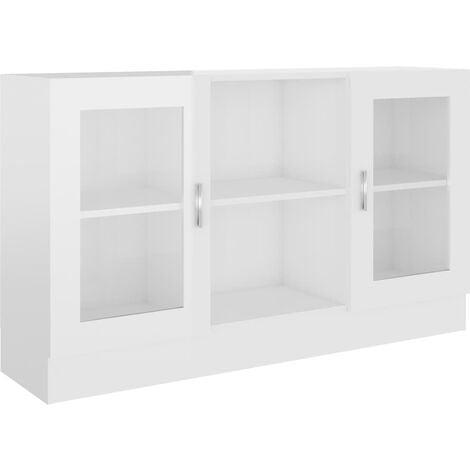 Vitrine Cabinet High Gloss White 120x30.5x70 cm Chipboard