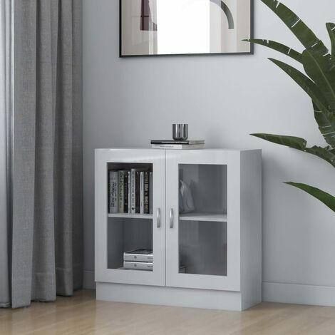 """main image of """"Vitrine Cabinet High Gloss White 82.5x30.5x80 cm Chipboard36756-Serial number"""""""