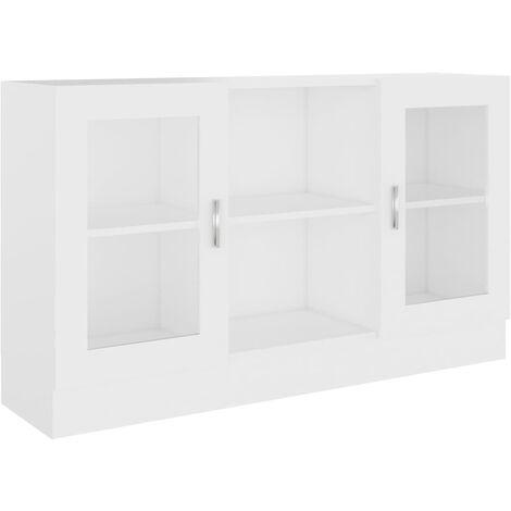 Vitrine Cabinet White 120x30.5x70 cm Chipboard
